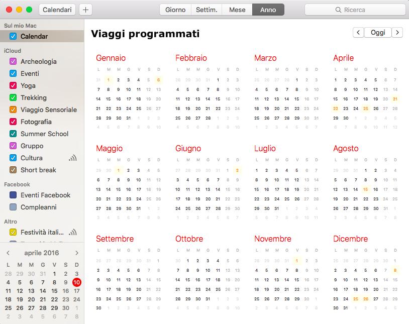 Il calendario dei viaggi programmati